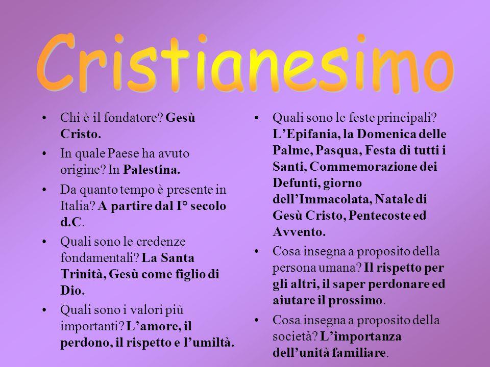 Cristianesimo Chi è il fondatore Gesù Cristo.