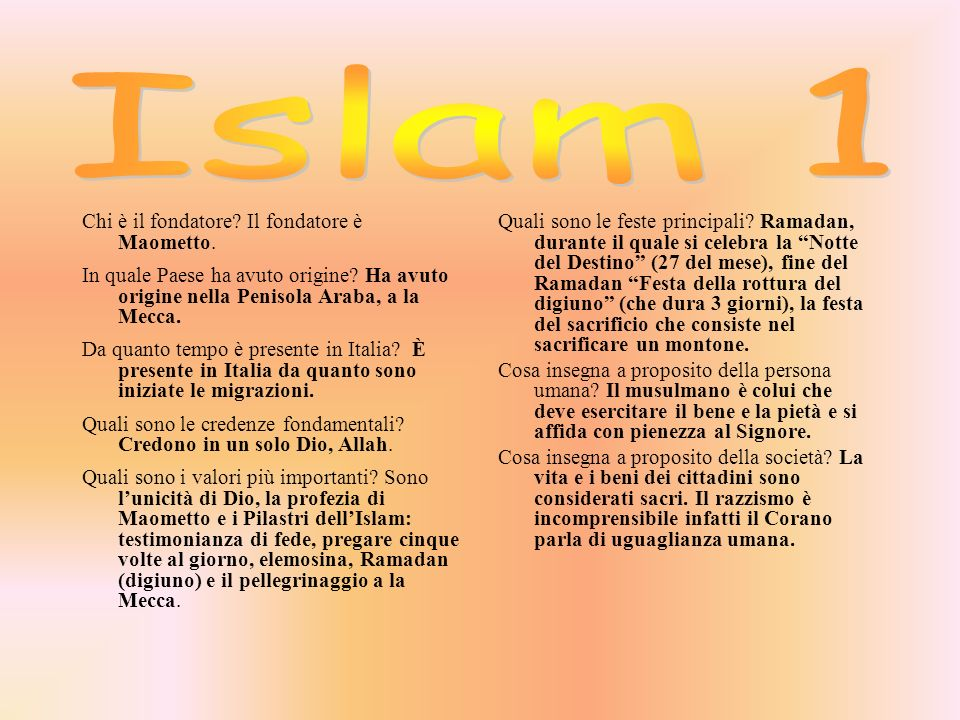 Islam 1 Chi è il fondatore Il fondatore è Maometto.