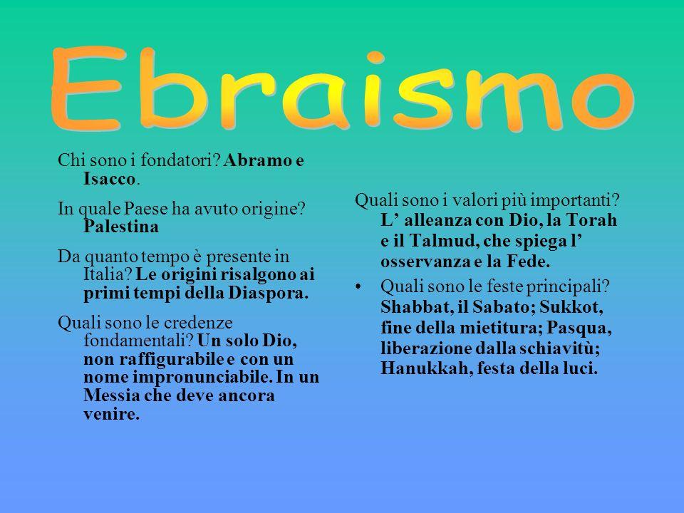 Ebraismo Chi sono i fondatori Abramo e Isacco.