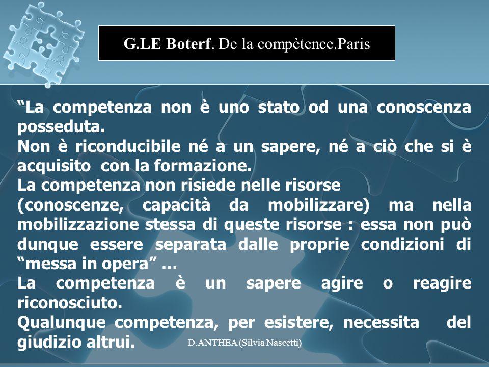G.LE Boterf. De la compètence.Paris