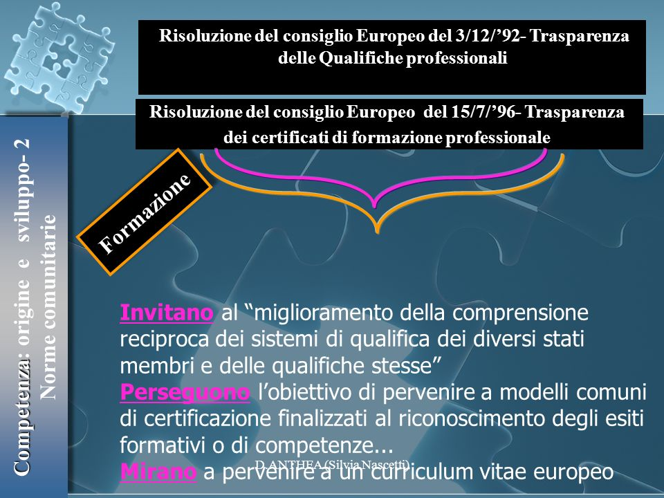 Formazione Competenza: origine e sviluppo- 2 Norme comunitarie