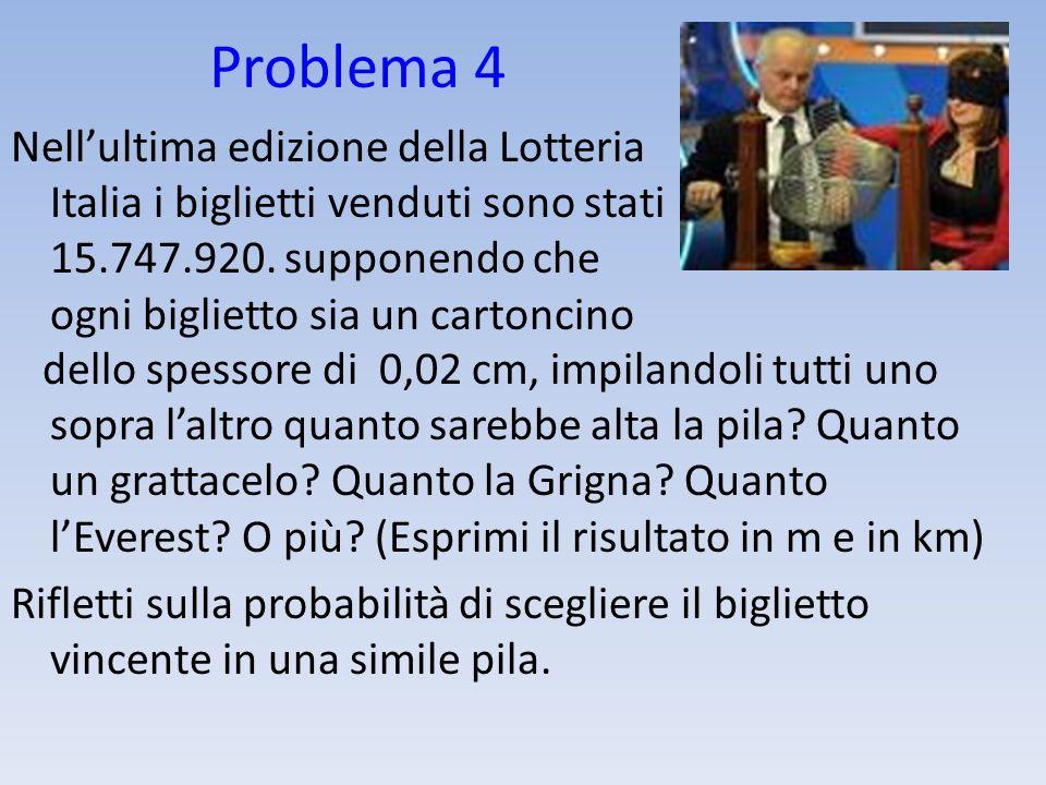 Problema 4Nell'ultima edizione della Lotteria Italia i biglietti venduti sono stati 15.747.920. supponendo che ogni biglietto sia un cartoncino.