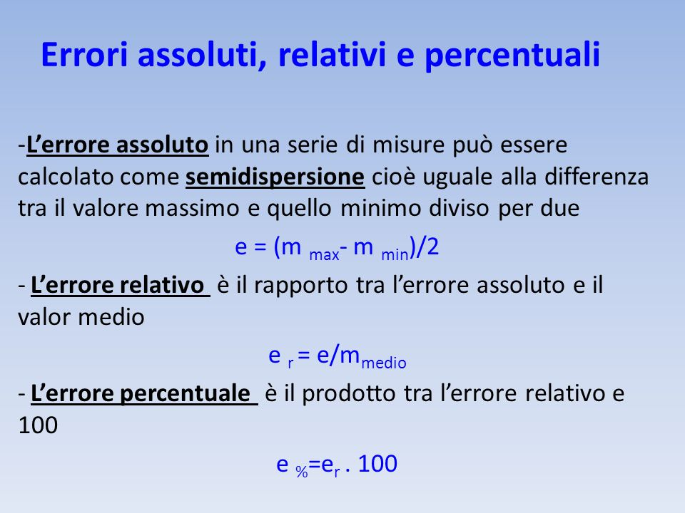 Errori assoluti, relativi e percentuali