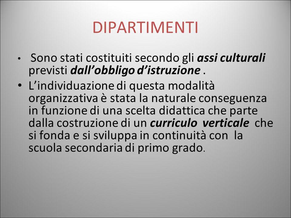 DIPARTIMENTI Sono stati costituiti secondo gli assi culturali previsti dall'obbligo d'istruzione .
