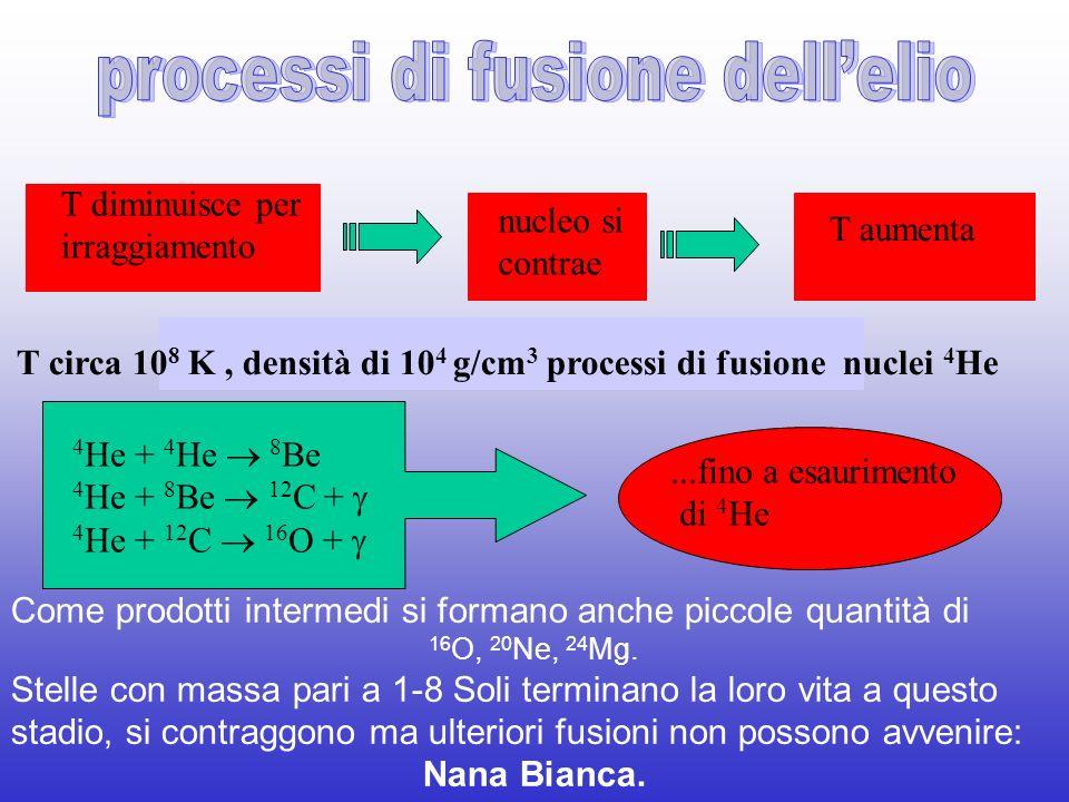 T circa 108 K , densità di 104 g/cm3 processi di fusione nuclei 4He