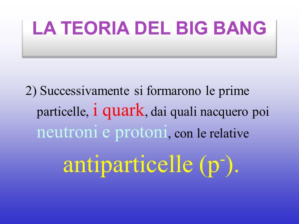 LA TEORIA DEL BIG BANG 2) Successivamente si formarono le prime particelle, i quark, dai quali nacquero poi neutroni e protoni, con le relative.