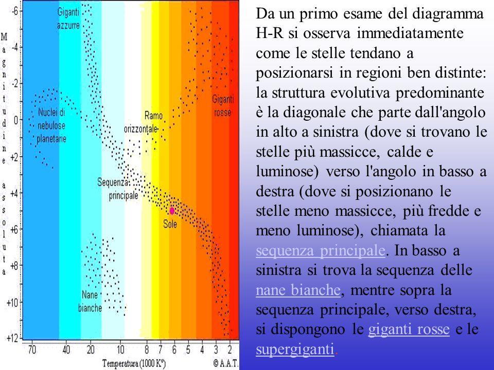 Da un primo esame del diagramma H-R si osserva immediatamente come le stelle tendano a posizionarsi in regioni ben distinte: la struttura evolutiva predominante è la diagonale che parte dall angolo in alto a sinistra (dove si trovano le stelle più massicce, calde e luminose) verso l angolo in basso a destra (dove si posizionano le stelle meno massicce, più fredde e meno luminose), chiamata la sequenza principale.