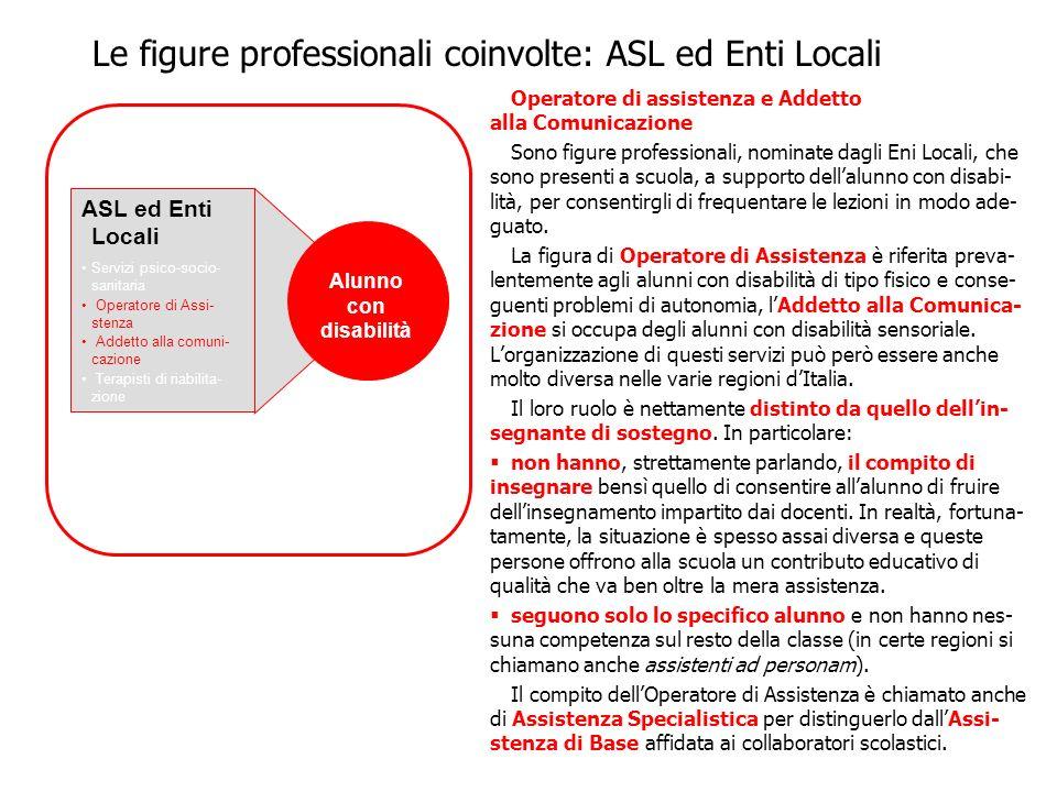 Le figure professionali coinvolte: ASL ed Enti Locali