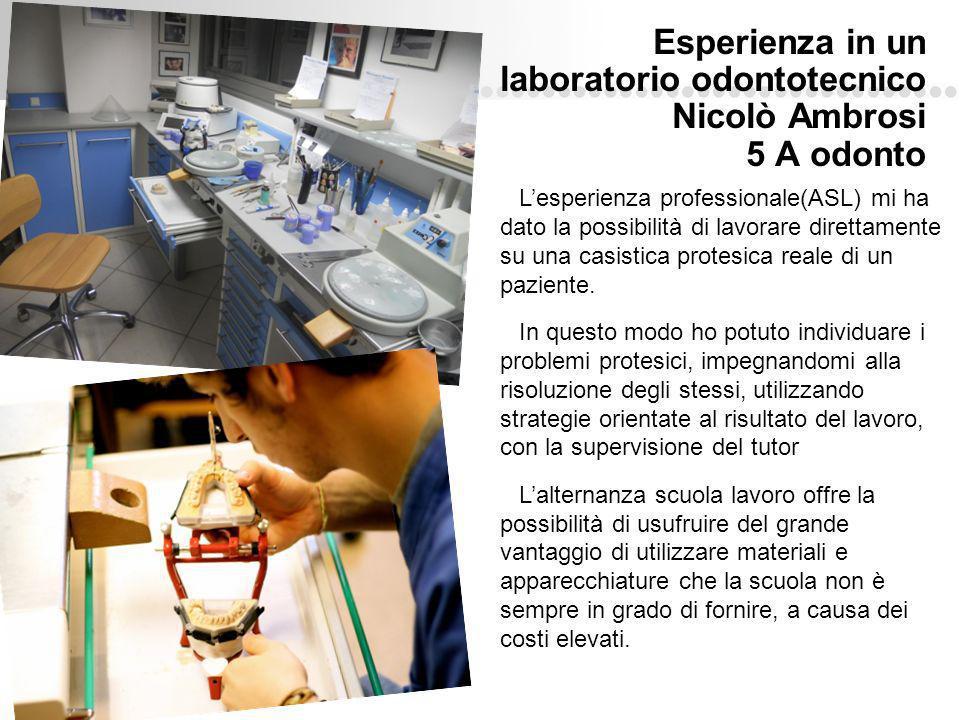 Esperienza in un laboratorio odontotecnico Nicolò Ambrosi 5 A odonto