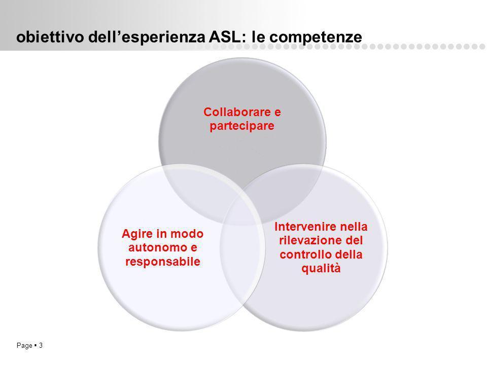 obiettivo dell'esperienza ASL: le competenze
