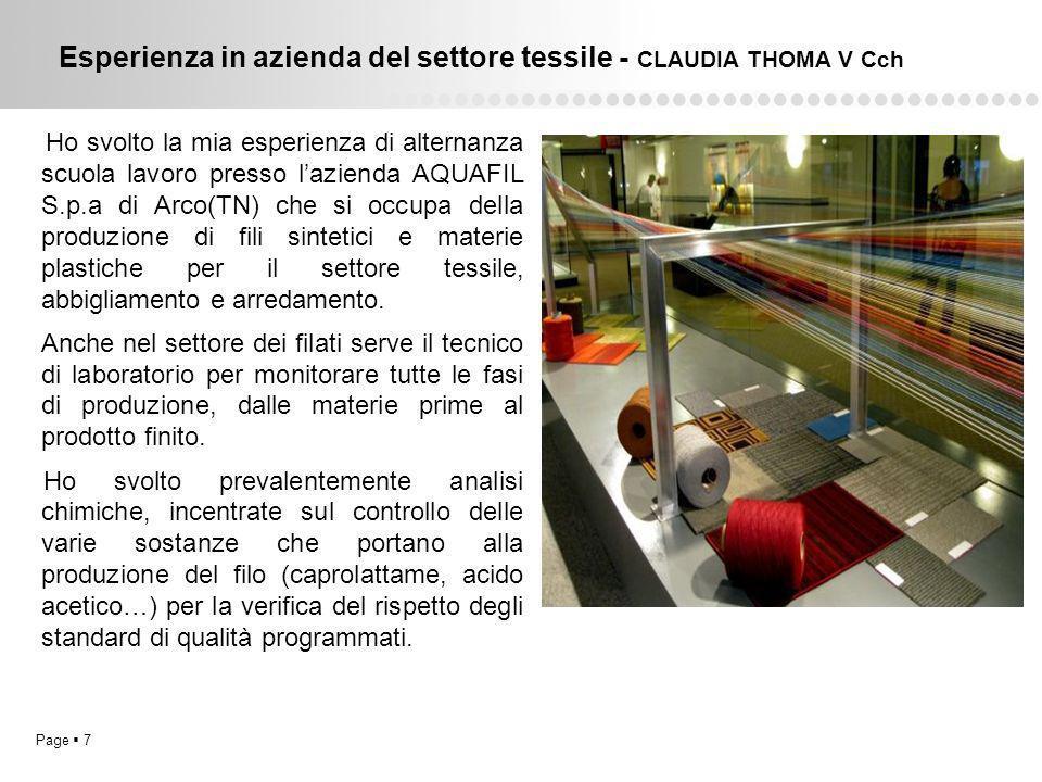 Esperienza in azienda del settore tessile - CLAUDIA THOMA V Cch
