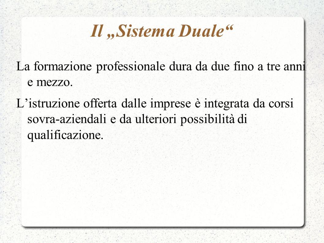 """Il """"Sistema Duale La formazione professionale dura da due fino a tre anni e mezzo."""