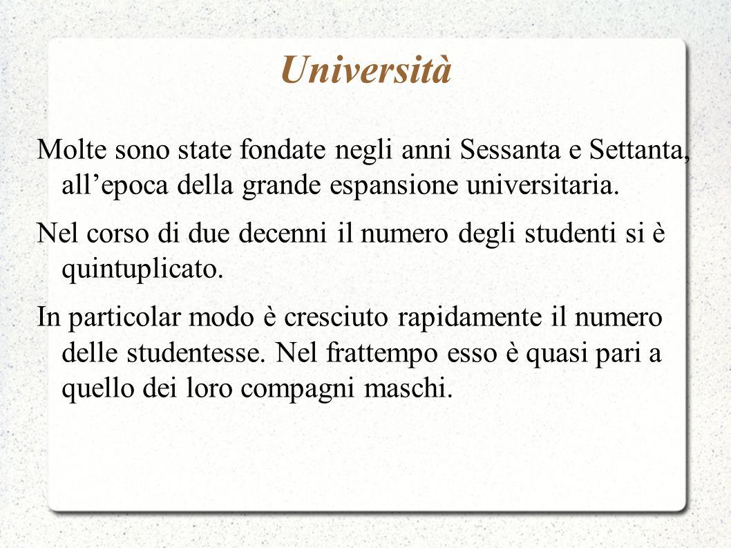 Università Molte sono state fondate negli anni Sessanta e Settanta, all'epoca della grande espansione universitaria.