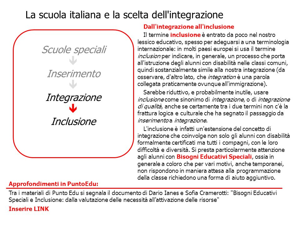 La scuola italiana e la scelta dell integrazione