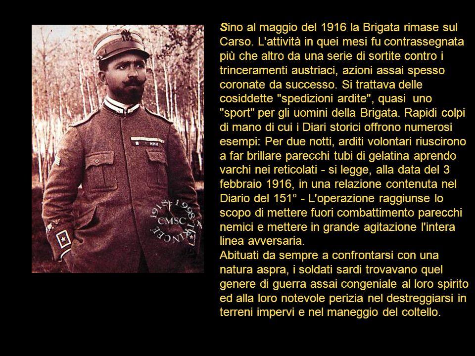 Sino al maggio del 1916 la Brigata rimase sul Carso