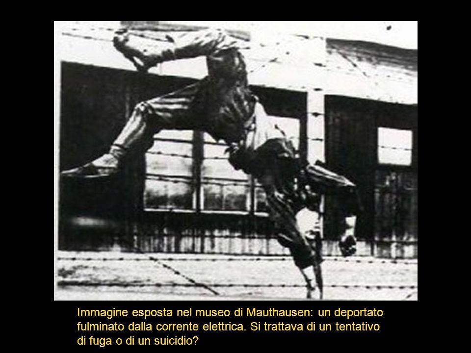 Immagine esposta nel museo di Mauthausen: un deportato fulminato dalla corrente elettrica.