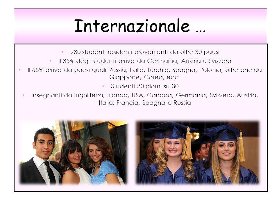 Internazionale … 280 studenti residenti provenienti da oltre 30 paesi