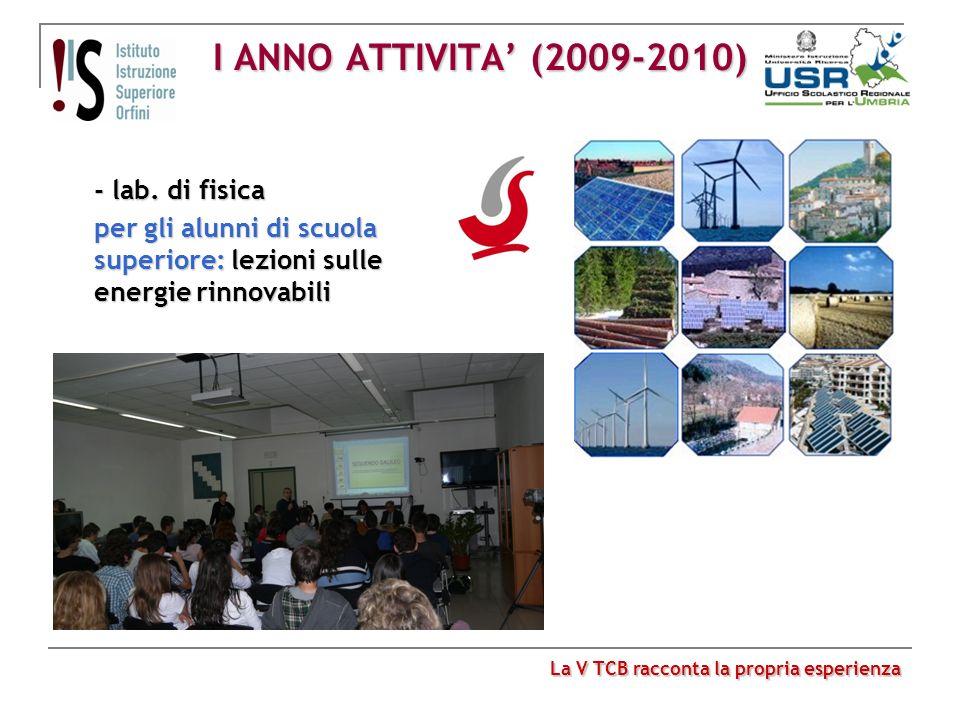 I ANNO ATTIVITA' (2009-2010) - lab. di fisica