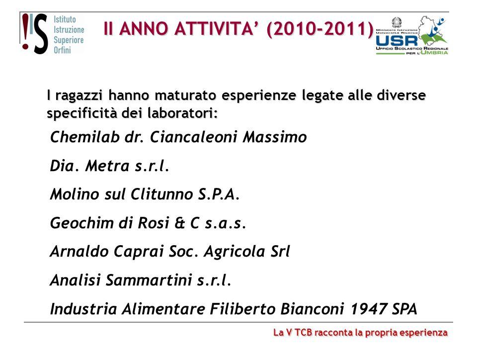 II ANNO ATTIVITA' (2010-2011) Chemilab dr. Ciancaleoni Massimo