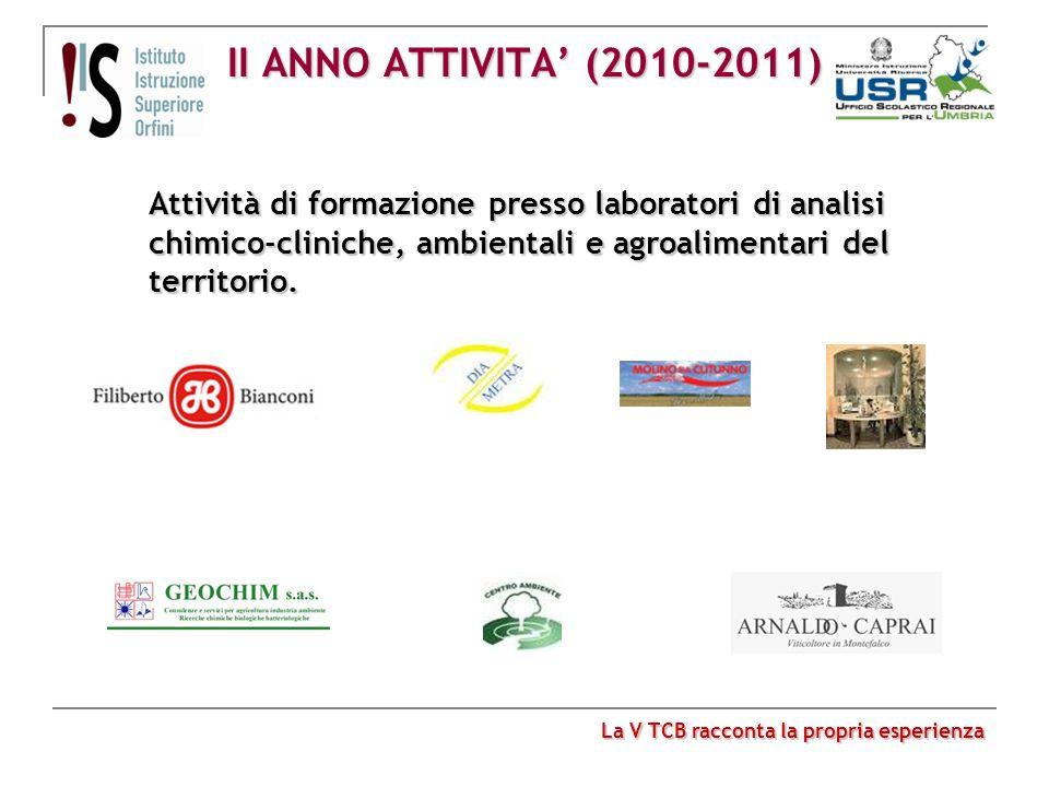 II ANNO ATTIVITA' (2010-2011) Attività di formazione presso laboratori di analisi chimico-cliniche, ambientali e agroalimentari del territorio.