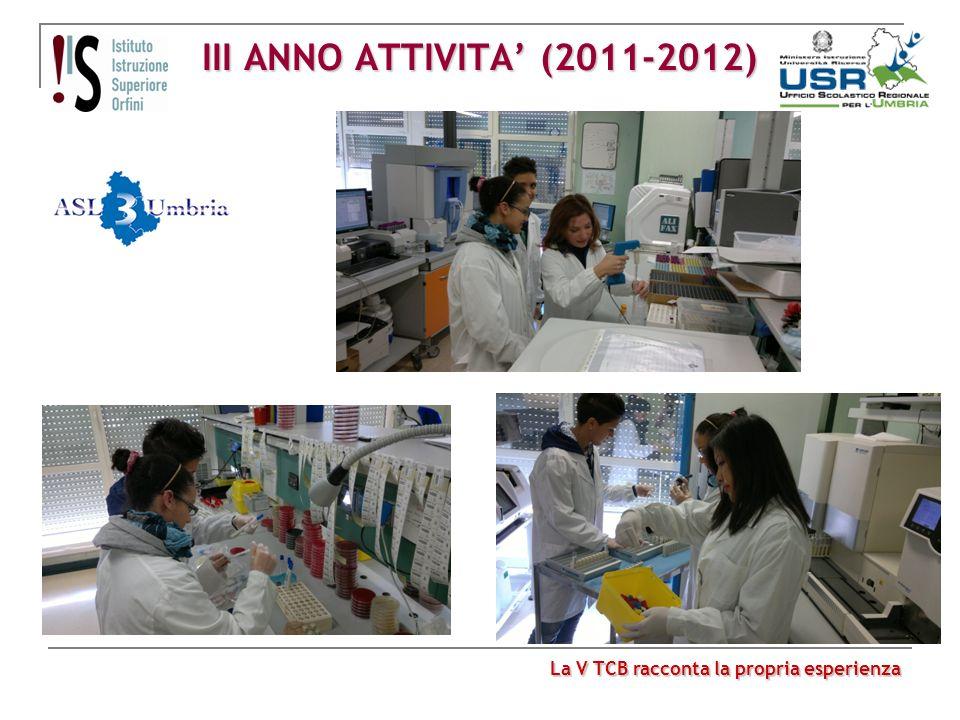 III ANNO ATTIVITA' (2011-2012) La V TCB racconta la propria esperienza