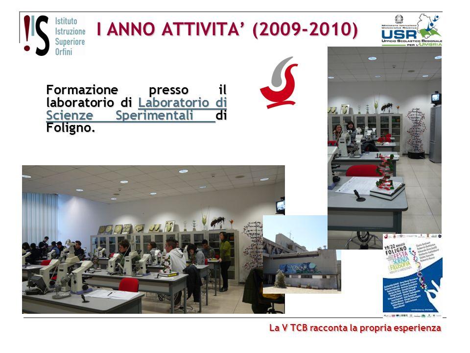 I ANNO ATTIVITA' (2009-2010) Formazione presso il laboratorio di Laboratorio di Scienze Sperimentali di Foligno.