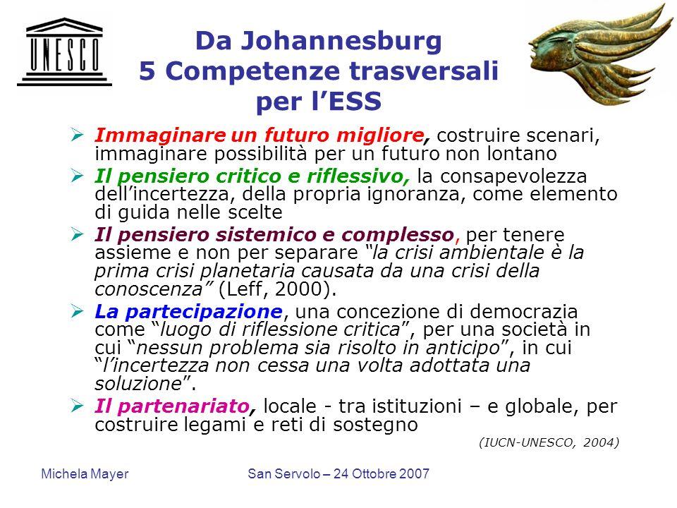Da Johannesburg 5 Competenze trasversali per l'ESS