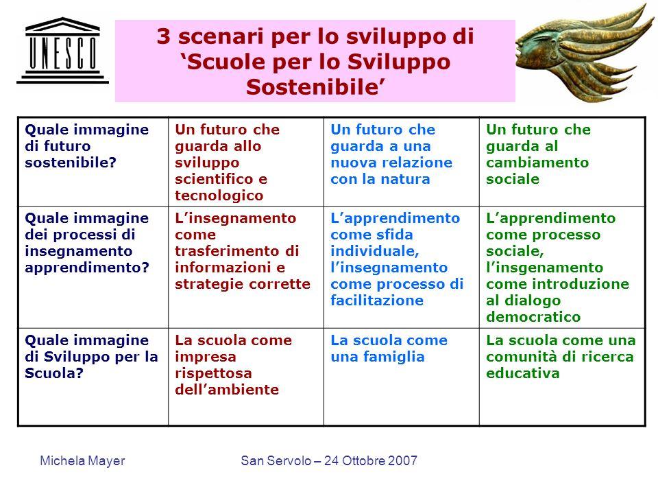3 scenari per lo sviluppo di 'Scuole per lo Sviluppo Sostenibile'
