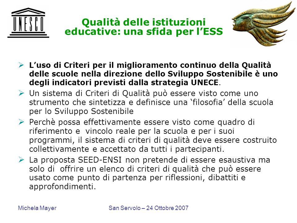 Qualità delle istituzioni educative: una sfida per l'ESS