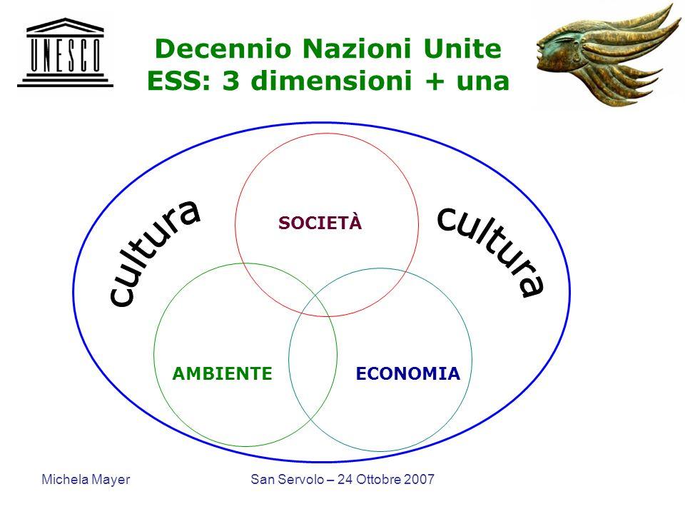Decennio Nazioni Unite ESS: 3 dimensioni + una