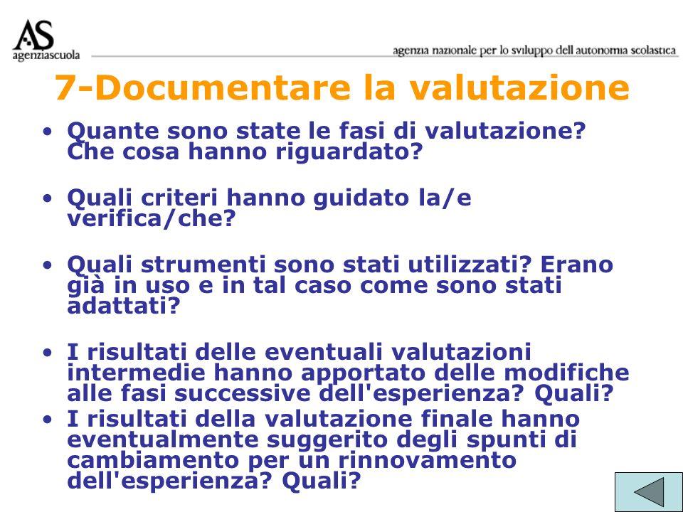 7-Documentare la valutazione