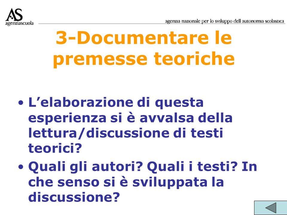 3-Documentare le premesse teoriche