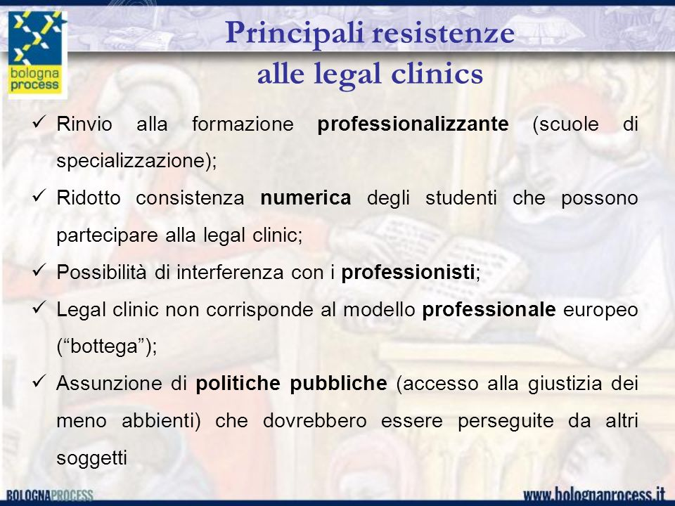 Principali resistenze alle legal clinics
