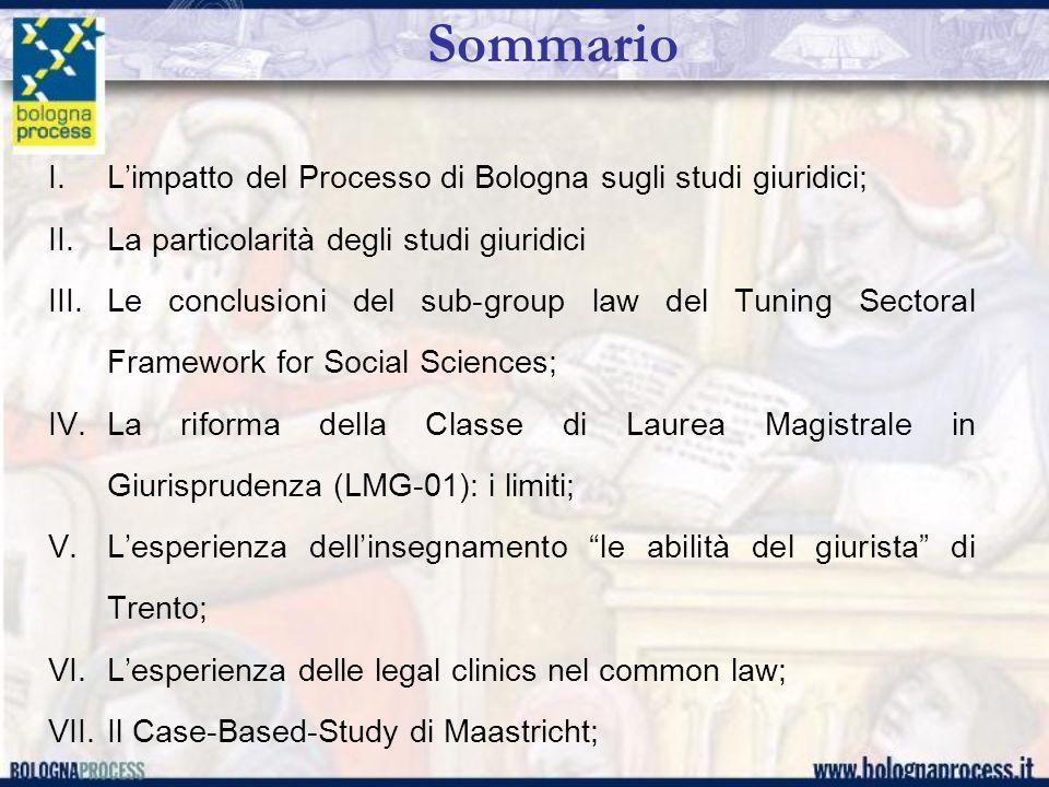 Sommario L'impatto del Processo di Bologna sugli studi giuridici;