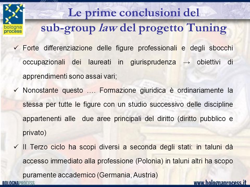 Le prime conclusioni del sub-group law del progetto Tuning