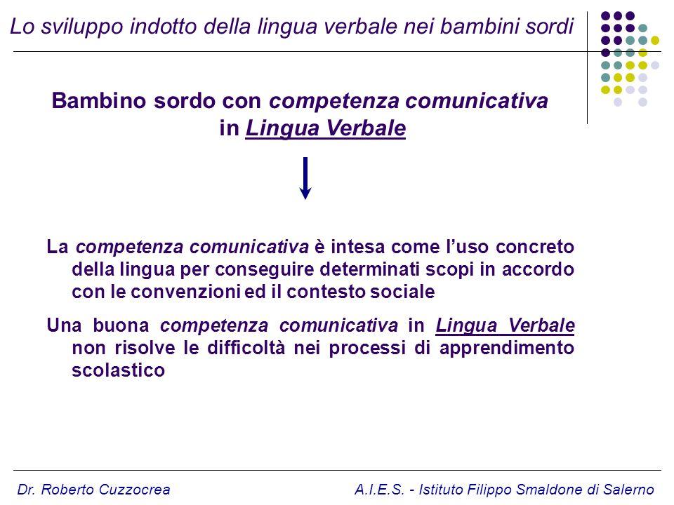 Bambino sordo con competenza comunicativa in Lingua Verbale