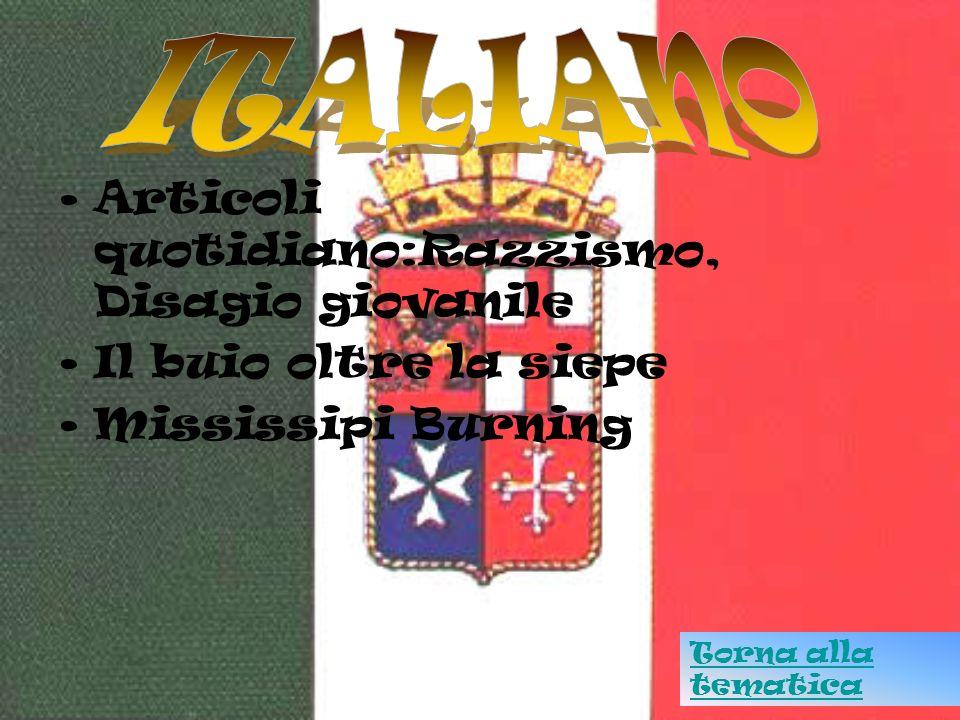 ITALIANO Articoli quotidiano:Razzismo, Disagio giovanile