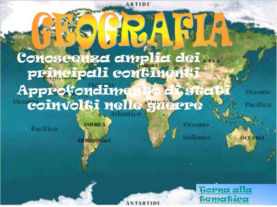 GEOGRAFIA Conoscenza amplia dei principali continenti