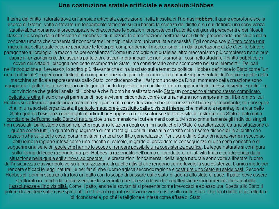 Una costruzione statale artificiale e assoluta:Hobbes