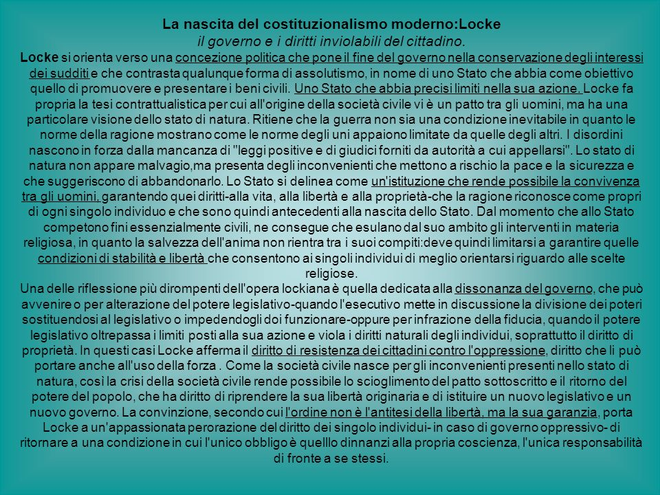 La nascita del costituzionalismo moderno:Locke