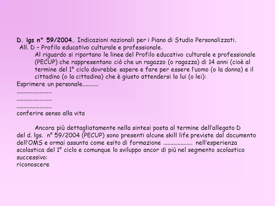 D. lgs n° 59/2004. Indicazioni nazionali per i Piano di Studio Personalizzati.