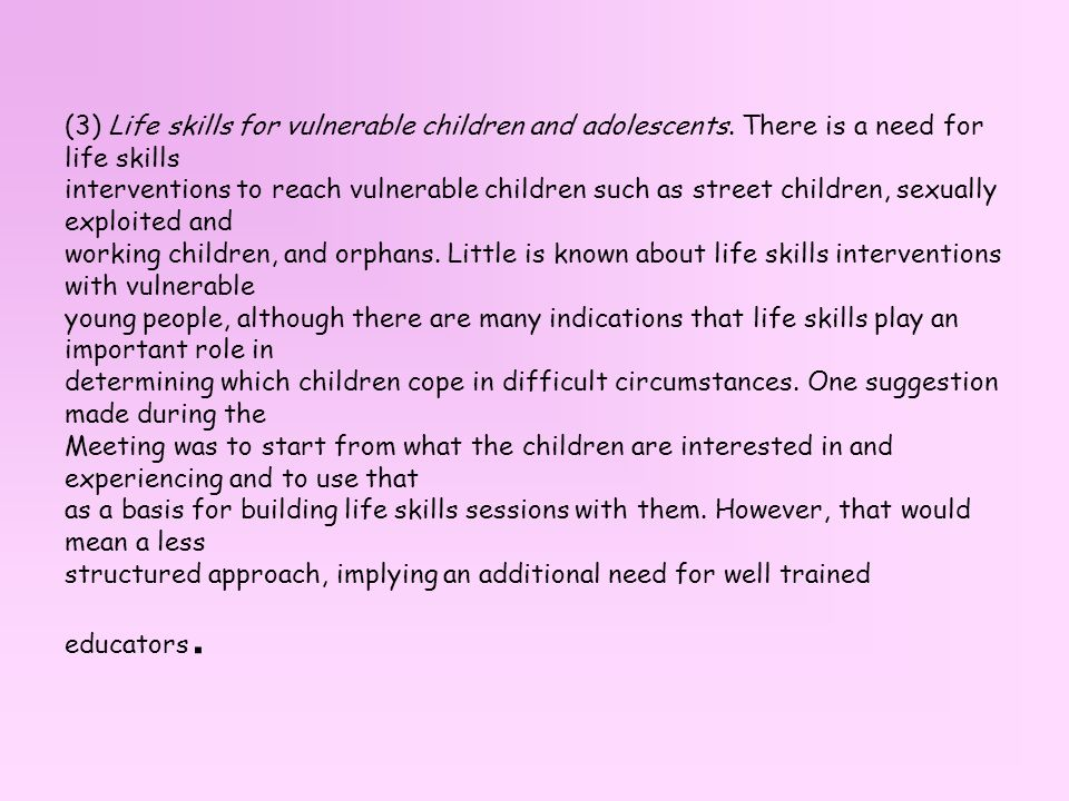 (3) Life skills for vulnerable children and adolescents