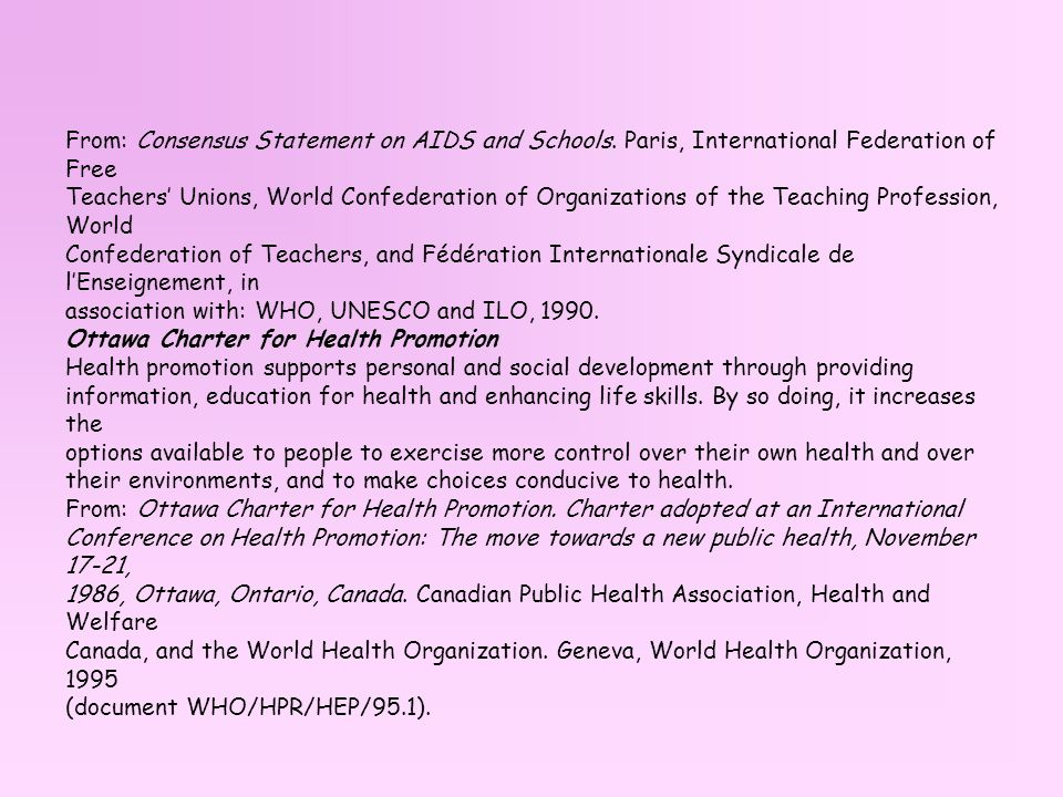 From: Consensus Statement on AIDS and Schools
