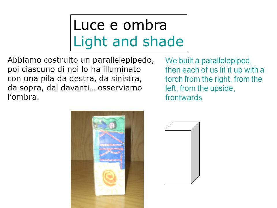 Luce e ombra Light and shade Abbiamo costruito un parallelepipedo,