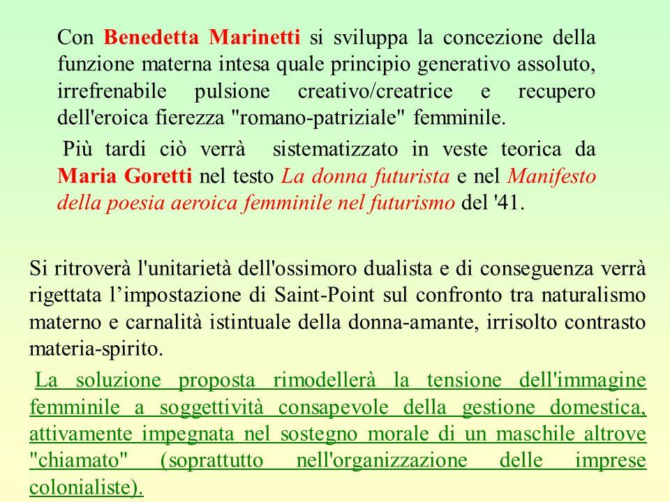 Con Benedetta Marinetti si sviluppa la concezione della funzione materna intesa quale principio generativo assoluto, irrefrenabile pulsione creativo/creatrice e recupero dell eroica fierezza romano-patriziale femminile.