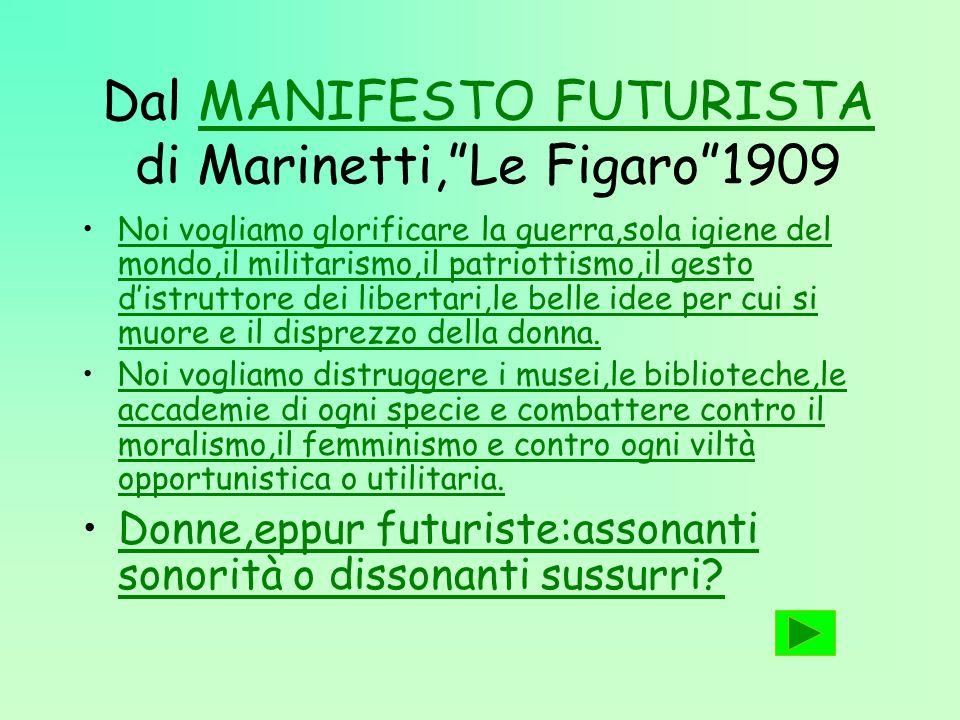 Dal MANIFESTO FUTURISTA di Marinetti, Le Figaro 1909