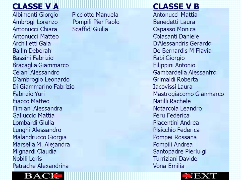 CLASSE V A CLASSE V B Albimonti Giorgio Picciotto Manuela