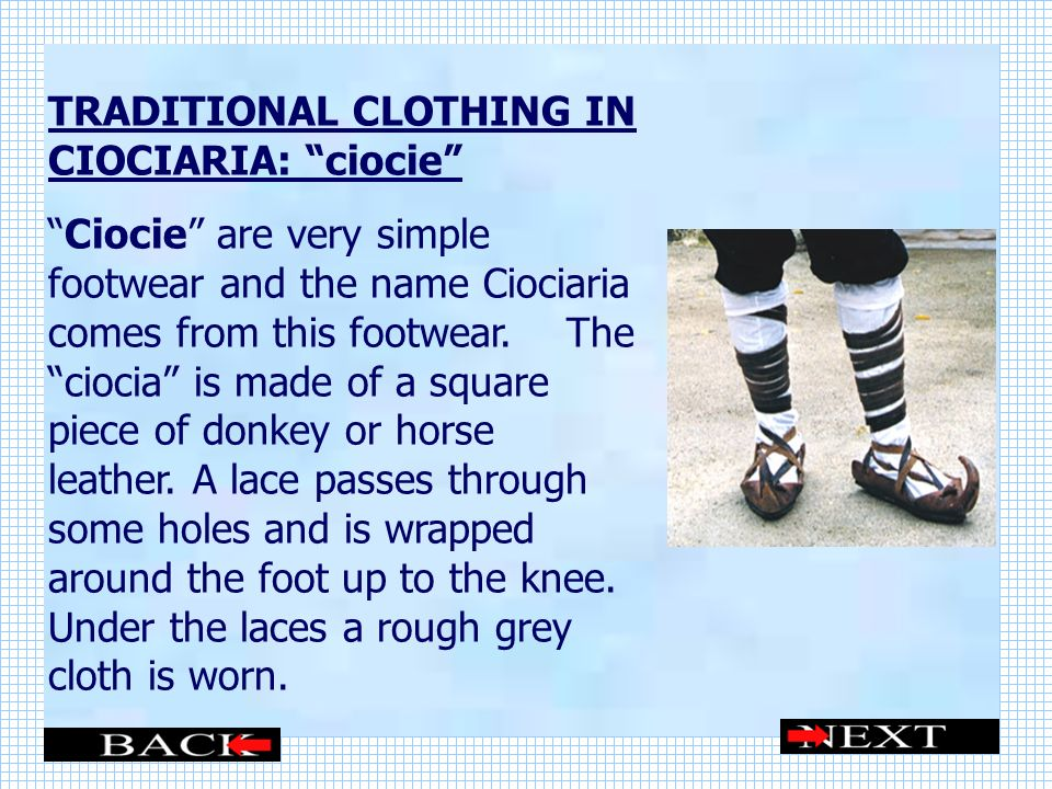 TRADITIONAL CLOTHING IN CIOCIARIA: ciocie
