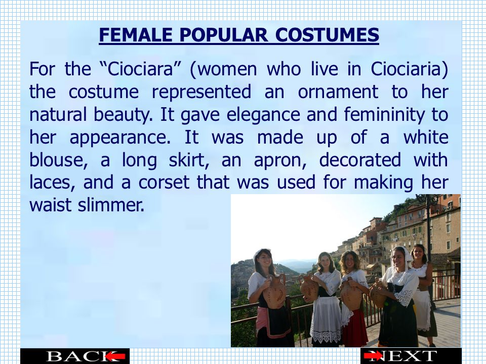 FEMALE POPULAR COSTUMES