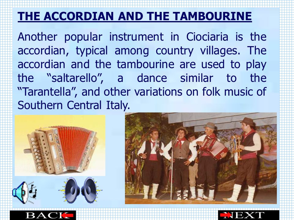 THE ACCORDIAN AND THE TAMBOURINE
